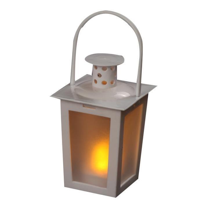 Lanterne lumineux en PVC blanc 15,5cm