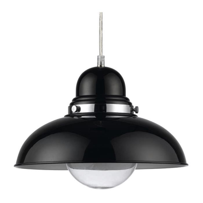 Lustre - suspension Igor diametre 30 cm hauteur 28 cm E27 40W noir et chrome