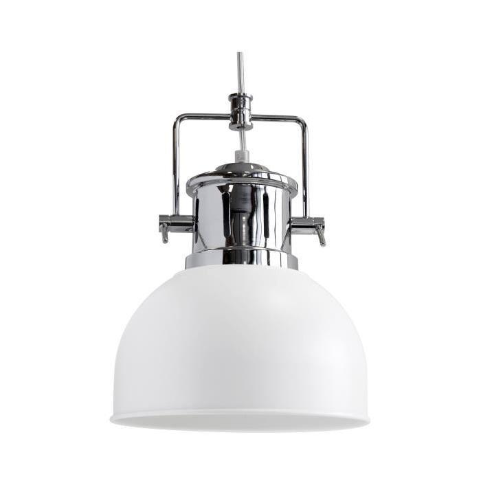 Lustre - suspension Néoma diametre 23 cm hauteur 30 cm E27 40W blanc mat et chrome