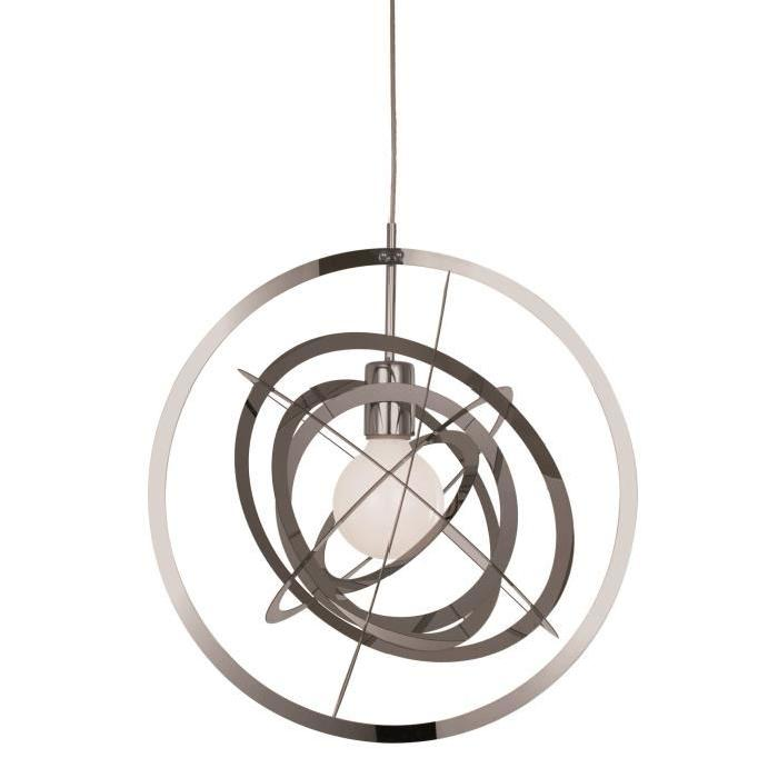 Lustre - suspension Ashley en métal souple chromé diametre 42 cm hauteur 55 cm E27 40W