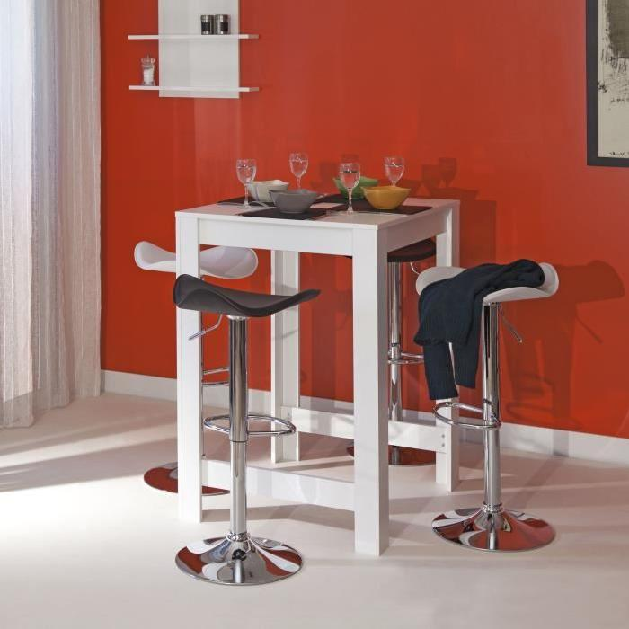 CURRY Table-bar de 2 a 4 personnes style contemporain mélaminé blanc mat - L 80 x L 70 cm