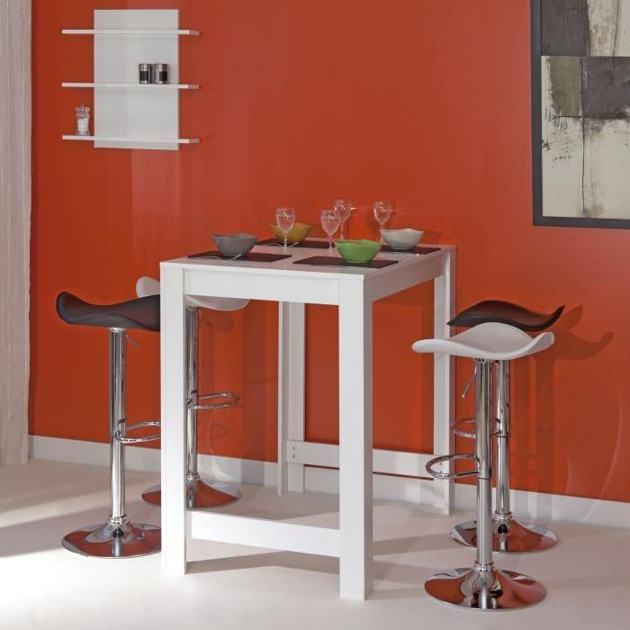 CURRY Table-bar de 2 a 4 personnes style contemporain mélaminé blanc mat - L 110 x l 70 cm