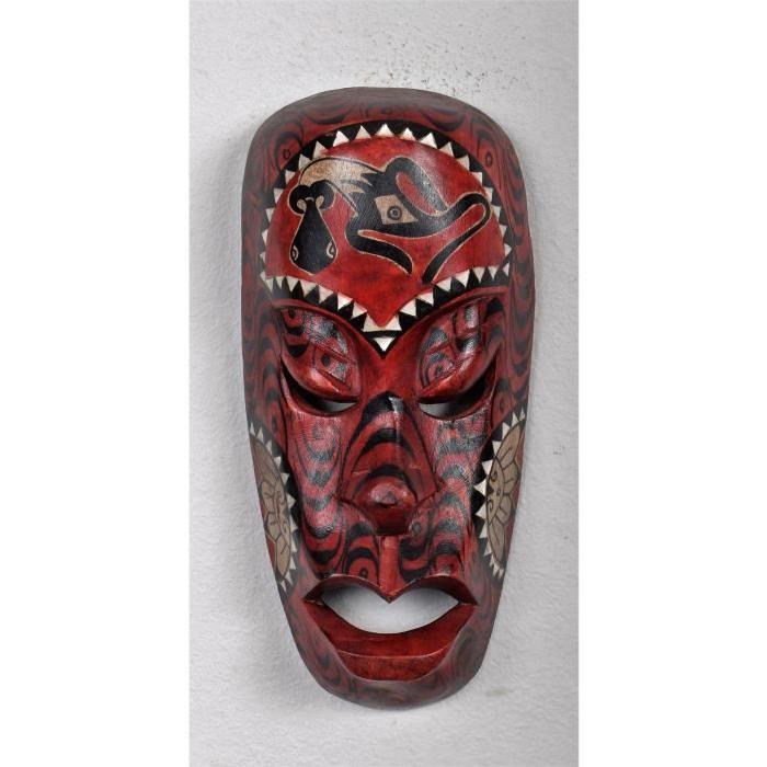 LOMBOK Masque bois 20 cm Rouge