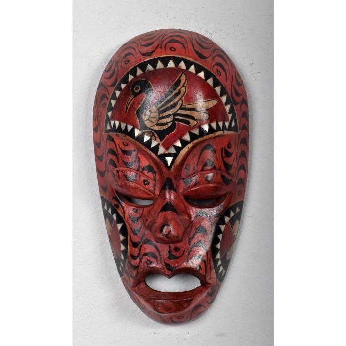 LOMBOK Masque bois 30 cm  Rouge