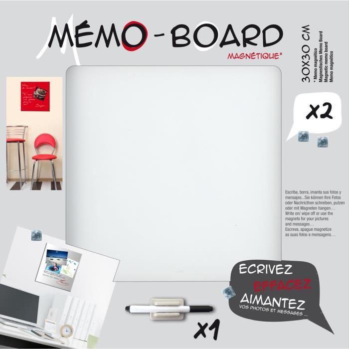 BRIO Mémo board magnétique verre blanc 30x30 cm