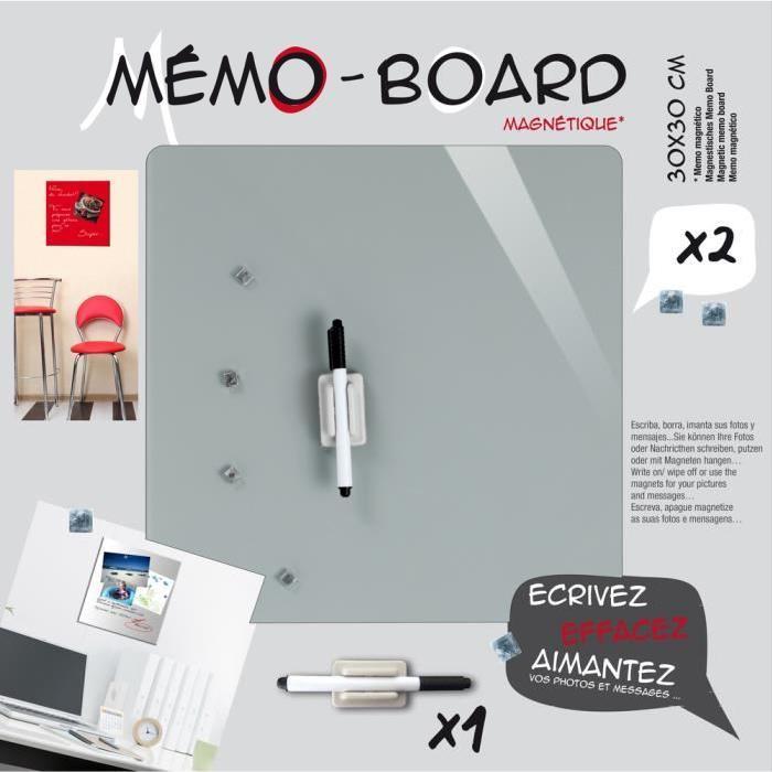 IMAGINE Mémo board magnétique verre gris 30x30 cm