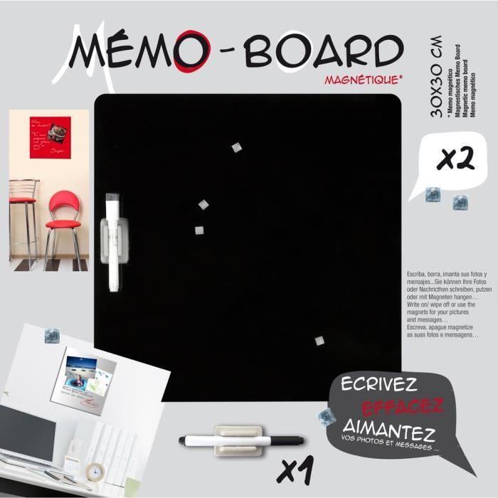 BRIO Mémo board magnétique verre noir 30x30 cm