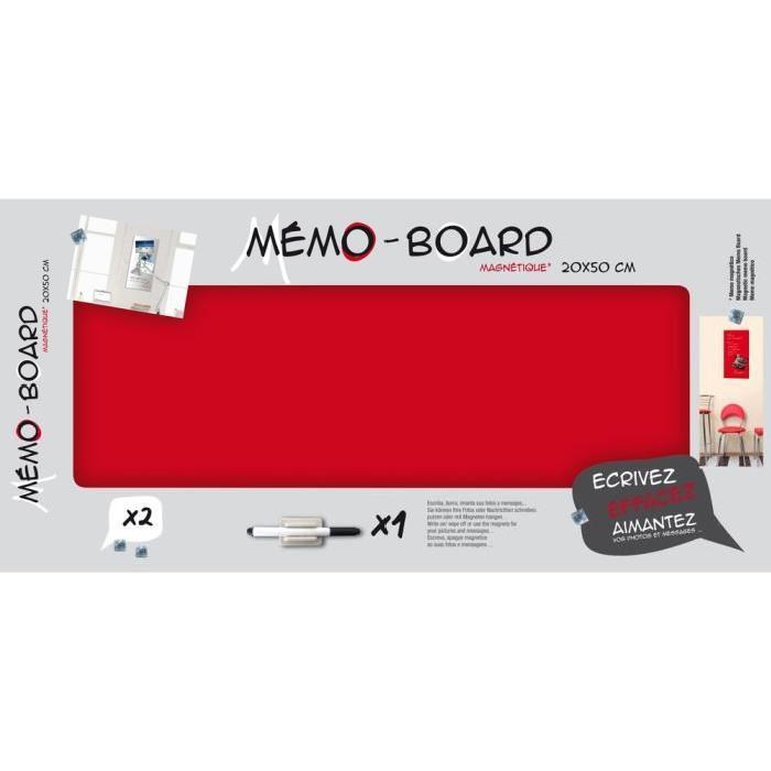 IMAGINE Mémo board magnétique verre rouge 20x50 cm