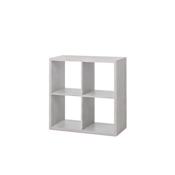 MAX Etagere avec 4 cubes - Style contemporain - Béton clair - L 73 cm