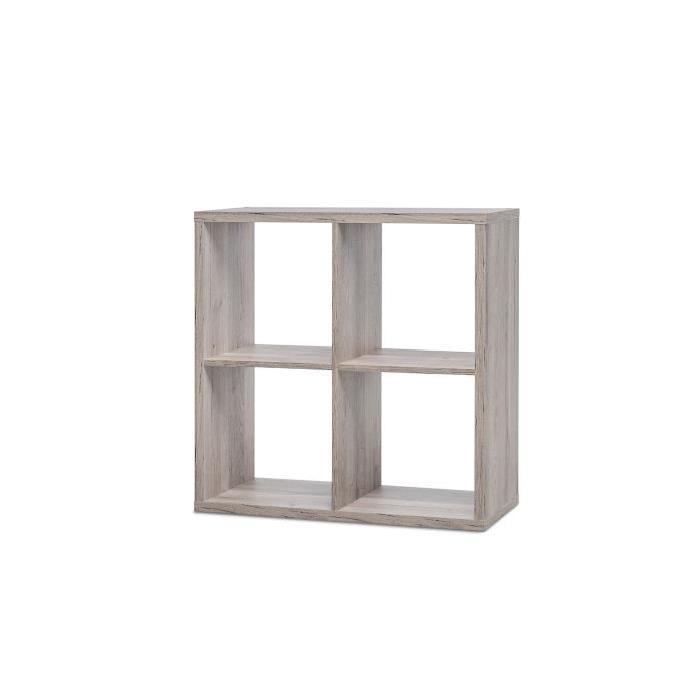 MAX Etagere avec 4 cubes - Style contemporain - Décor chene sorrento - L 73 cm