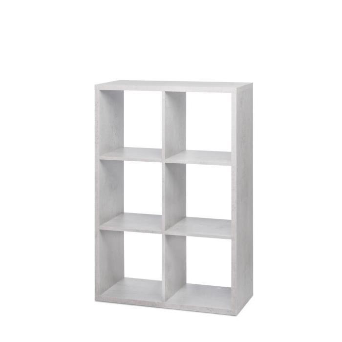 MAX Etagere avec 6 cubes - Style contemporain - Béton clair - L 73 cm