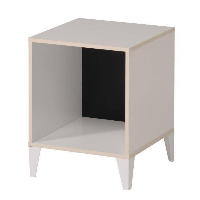 KAREA Cube de rangement 1 case scandinave décor blanc et acacia clair - L 36 cm