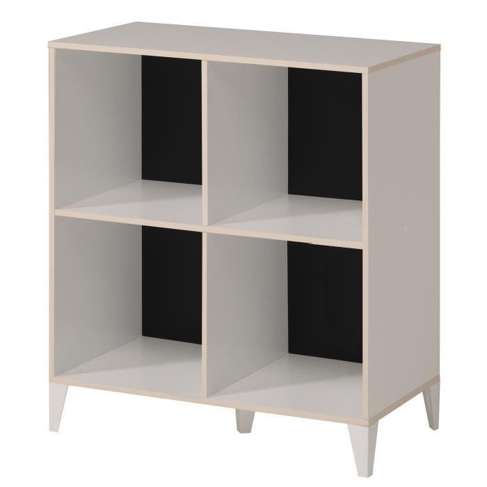 KAREA Cubes de rangement 4 cases scandinave décor blanc et acacia clair - L 70 cm