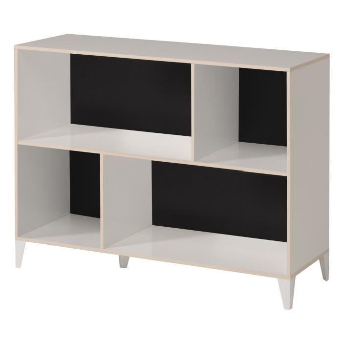KAREA Cubes de rangement 4 cases scandinave décor blanc et acacia clair - L 104 cm