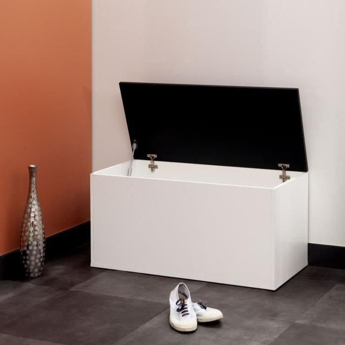 Meuble a chaussures contemporain blanc et noir - L 89 cm