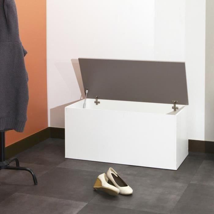 Meuble a chaussures contemporain blanc et taupe - L 89 cm