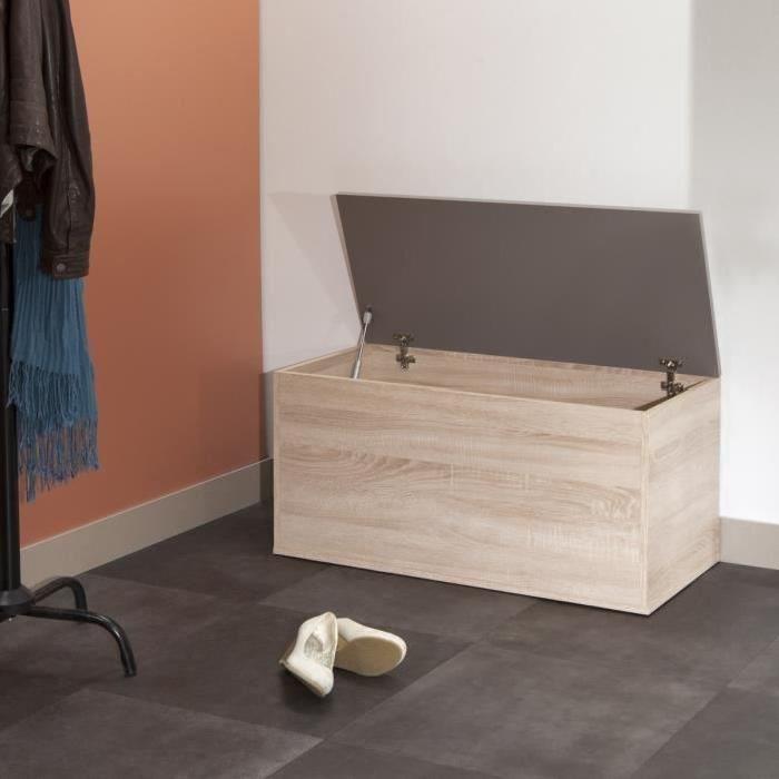 Meuble a chaussures contemporain décor chene naturel et taupe - L 89 cm