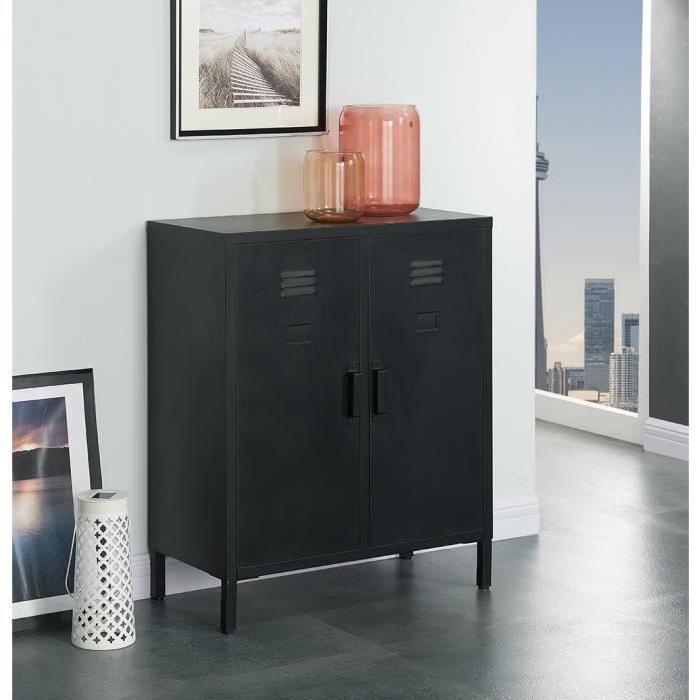 CAMDEN Meuble de rangement industriel noir laqué - L 70 cm