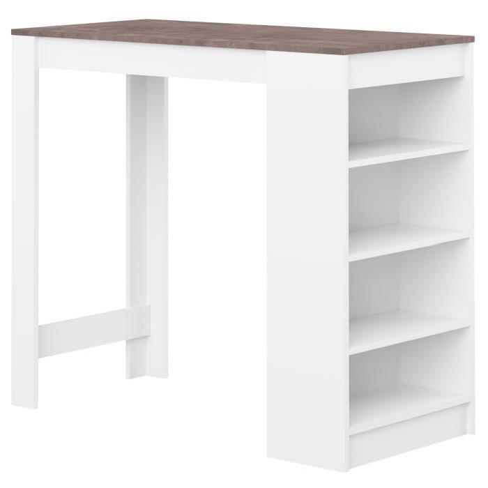 CURRY Table bar de 2 a 4 personnes style contemporain blanc mat et effet béton - L 115 x l 50 cm