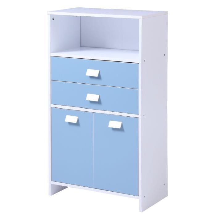 TOP Meuble bas de salle de bain L 60 cm - Blanc et bleu