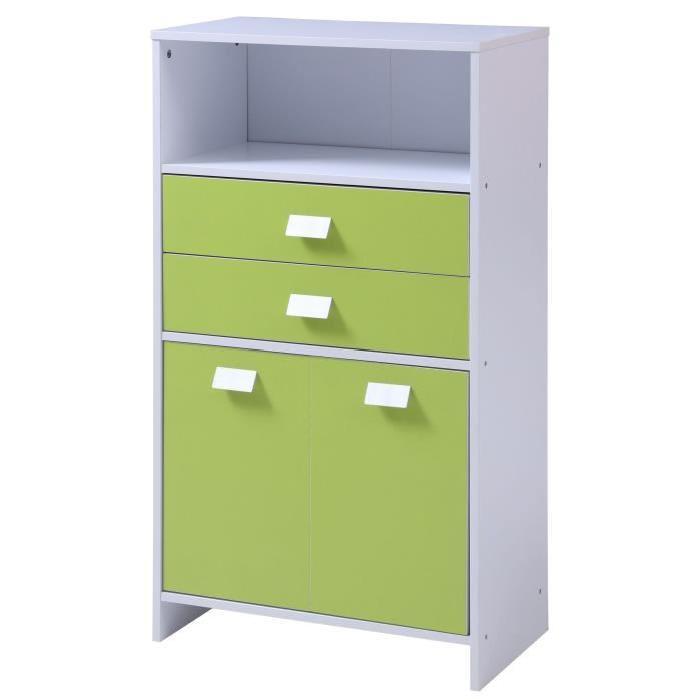 TOP Meuble bas de salle de bain L 60 cm - Blanc et vert clair