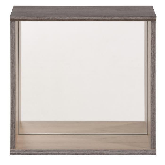 Etagere décorative carrée CARA avec miroir 35x34x19 cm décor chene brooklyn et pin brűlé