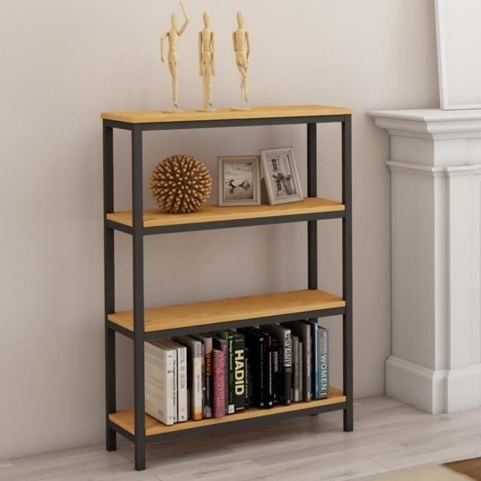 FACTO Etagere meuble style industriel en métal époxy noir + plateau placage bois chene massif vernis - L 75 cm