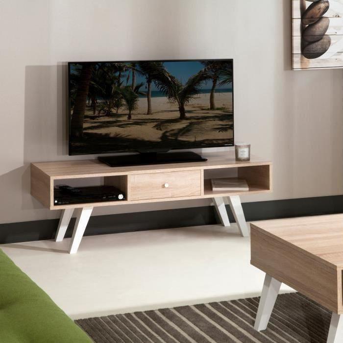 LUND Meuble TV scandinave mélaminé chene clair + pieds en hetre massif - L 117 cm