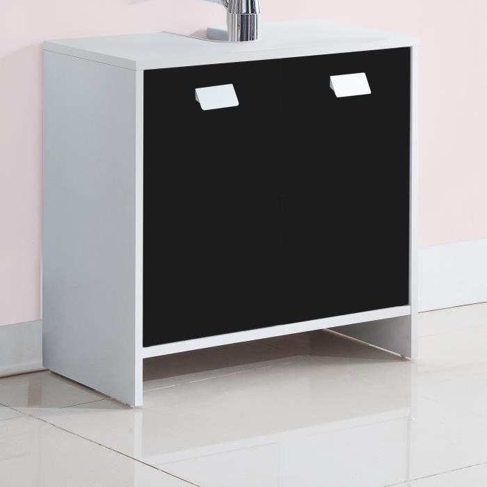 TOP Meuble sous-vasque L 60 cm - Blanc et noir
