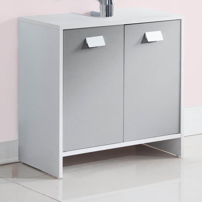 TOP Meuble sous-vasque L 60 cm - Blanc et gris