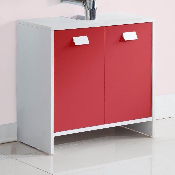 TOP Meuble sous-vasque L 60 cm - Blanc et rouge