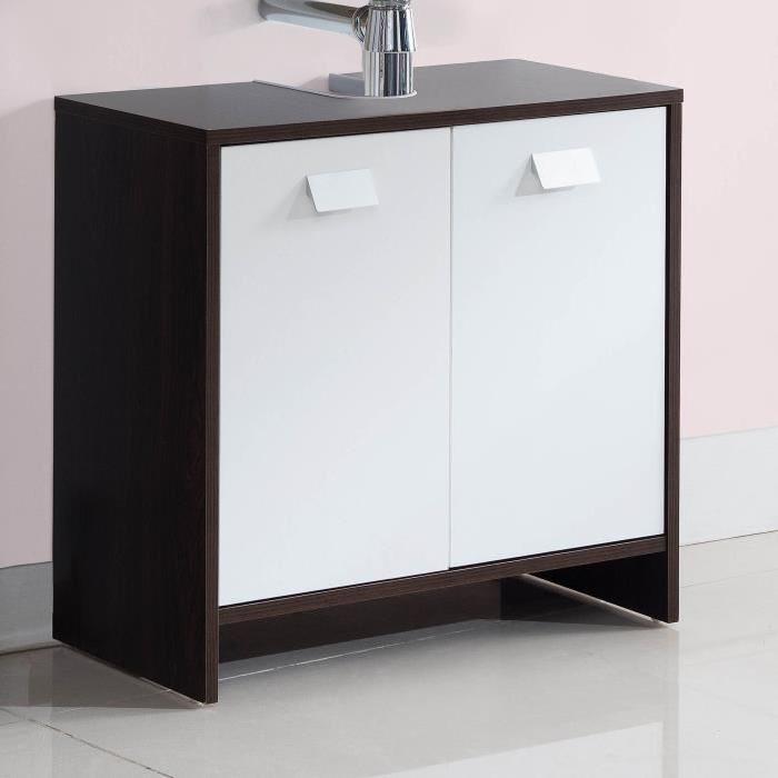 TOP Meuble sous-vasque L 60 cm - Wengé et blanc
