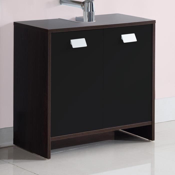 TOP Meuble sous-vasque L 60 cm - Wengé et noir