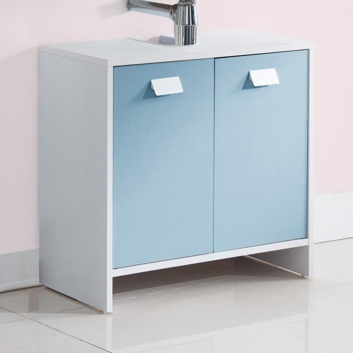 TOP Meuble sous-vasque L 60 cm - Blanc et bleu