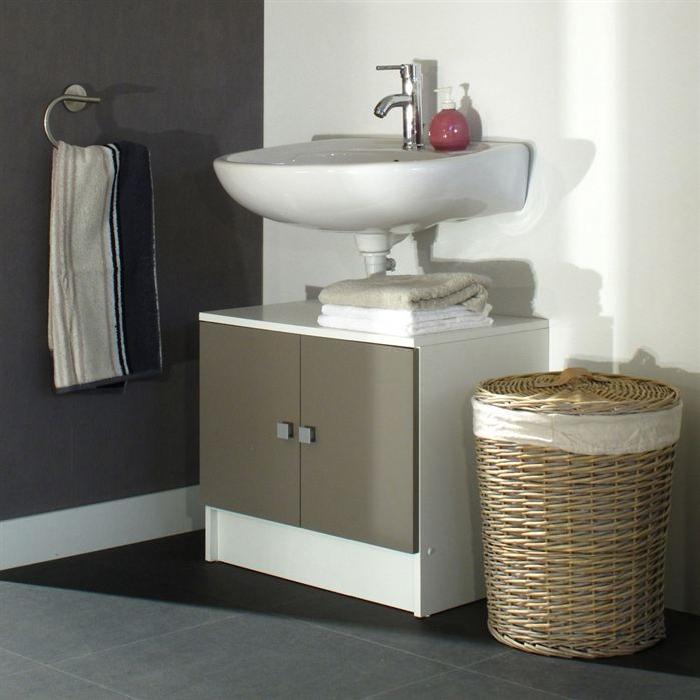 GALET Meuble sous lavabo L 60cm - Blanc et taupe