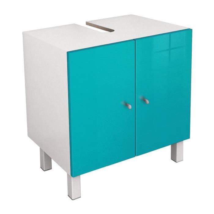 CORAIL Meuble sous lavabo L 60 cm - Bleu lagon haute brillance
