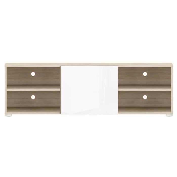 SALSA Meuble TV contemporain décor chene brossé et blanc perle - L 134 cm