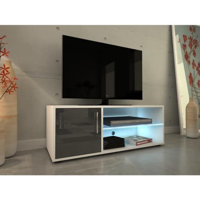 KORA Meuble TV 100 cm avec éclairage LED - Laqué gris