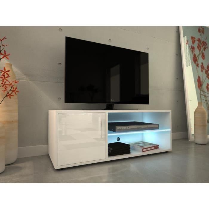 KORA Meuble TV 100 cm avec éclairage LED - Laqué blanc