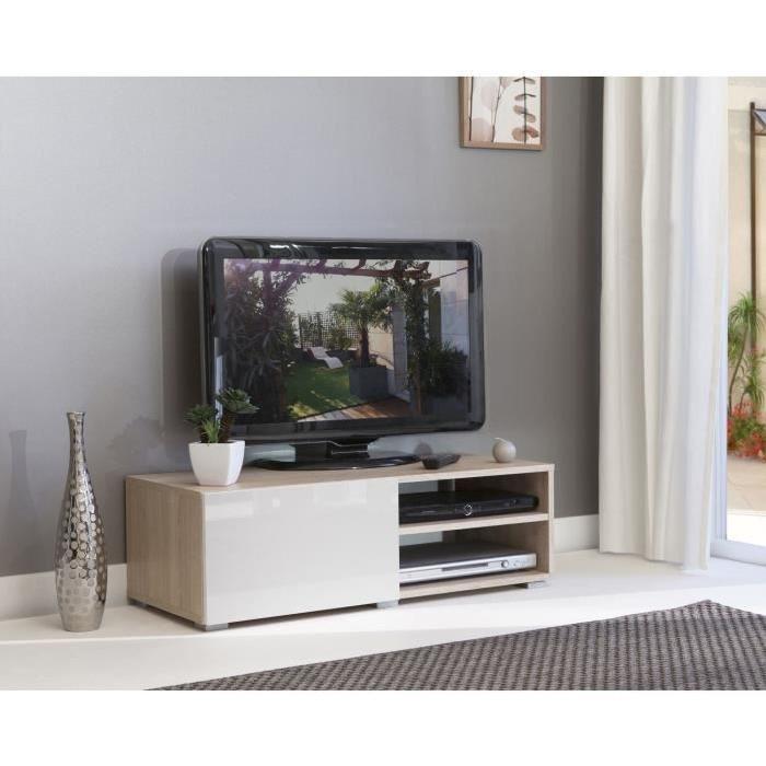 LIME Meuble TV contemporain finition chene Bardolino naturel + façades laquées - L 96 cm