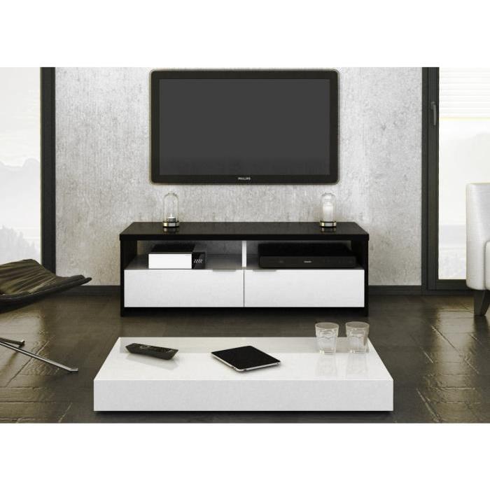 Banco Meuble Tv Contemporain Décor Noir Et Blanc Brillant L 110 Cm