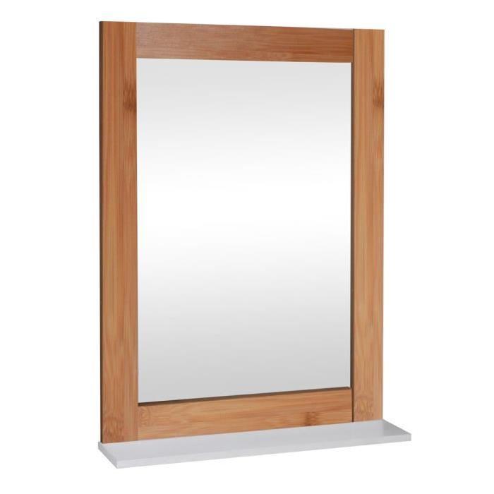 Miroir de salle de bain 50 cm - Laqué blanc brillant et marron