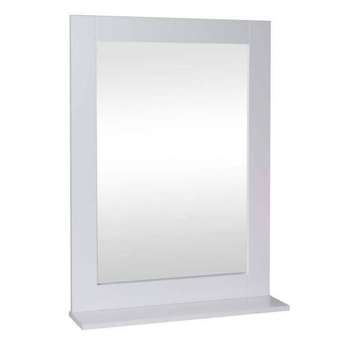 Miroir de salle de bain 50 cm - Laqué blanc brillant