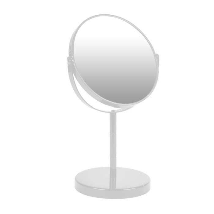 Miroir sur pied grossissant x1/x2 métal Blanc