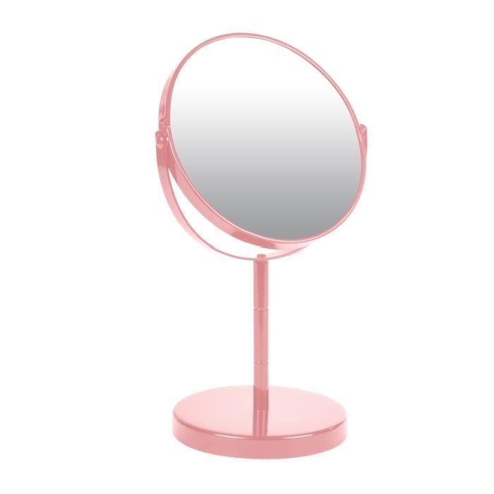 Miroir sur pied grossissant x1/x2 métal Rose poudré