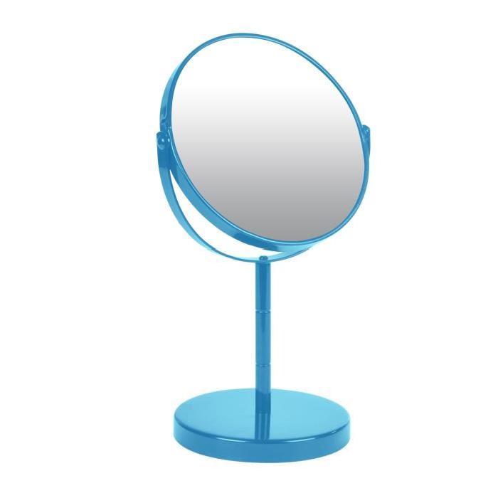 Miroir sur pied grossissant x1/x2 métal Bleu