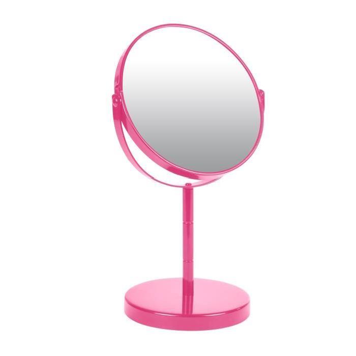 Miroir sur pied grossissant x1/x2 métal Fuchsia