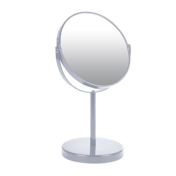 Miroir sur pied grossissant x1/x2 métal Gris clair