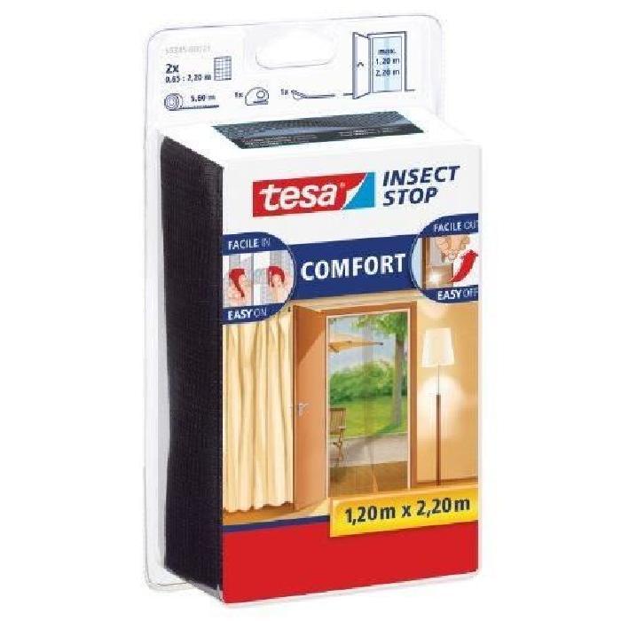 TESA Moustiquaire Standard pour portes - 2 m x 0,65 m x 2 m - Noir