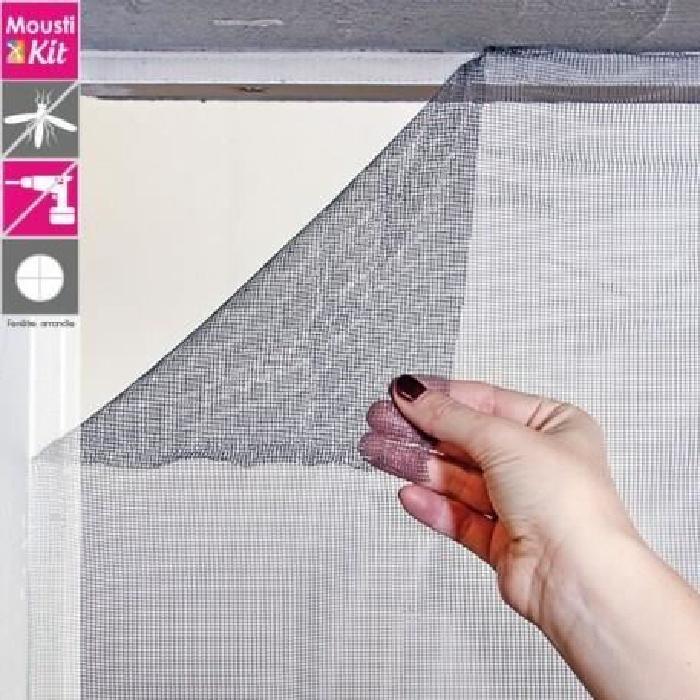 Moustiquaire tulle auto-agrippante L100 x H100 cm gris - MOUSTIKIT